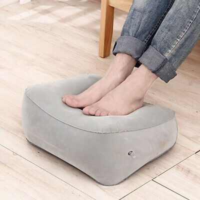 Inflatable Travel Footrest Leg Rest PVC Flocking Pillow Lay Down Pad