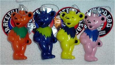 THE GRATEFUL DEAD DANCING BEARS BEAR CHRISTMAS ORNAMENT SET OF 4 NEW hippies
