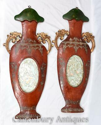 Chinese Red Lacquer Plaques - Pair Hand Carved Urns China Interiors