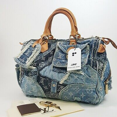 Authentic Louis Vuitton Speedy 30 Denim Patchwork Bleu M95380 Genuine Bag LB695