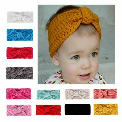 Kids Baby Girls Crochet Knitted Turban Headband Hair Band Headwrap Accessories