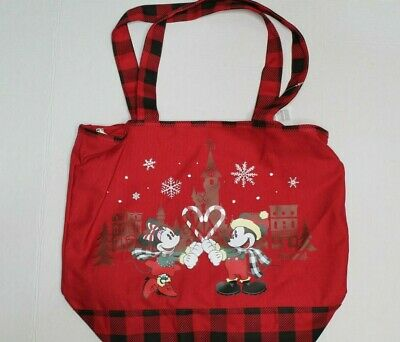 Disney Parks 2019 Christmas Holiday LG Mickey & Minnie Tote Bag Disneyland NEW