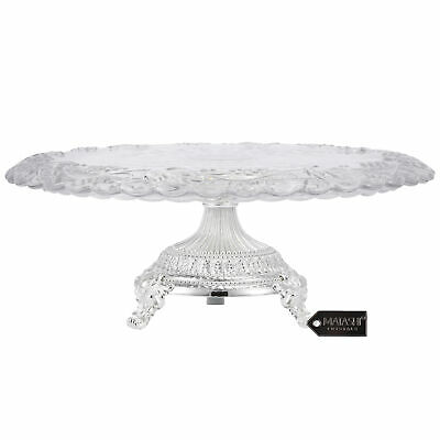 Matashi Silver Plated Crystal Glass Cake Plate Serving Platter Mothers day Gift