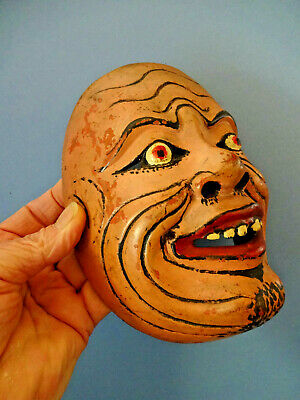 ANTIQUE JAPANESE HAND CARVED & PAINTED NOH THEATRE SMILING FACE MASK, c 1900.