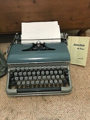 Vintage Blue Bird De Luxe Typewriter Made Western Germany Cover & Instructions
