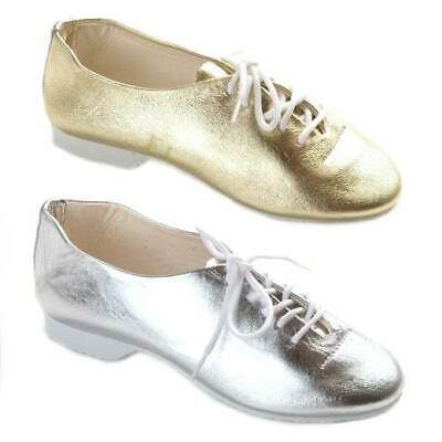 Dance Depot Girls Full Rubber Sole Shiny Gold or Silver Jazz Shoes