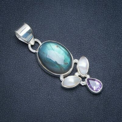 Natural Blue Fire Labradorite and Amethyst Handmade Unique 925 Sterling Silver Pendant 1.75 X0075