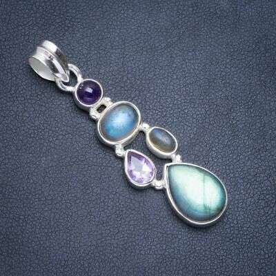 Natural Blue Fire Labradorite and Amethyst Handmade Unique 925 Sterling Silver Pendant 1.75 X1067