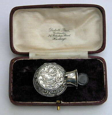 SUPERB Art Nouveau Solid Silver Cased Perfume Bottle 1905 for chatelaine