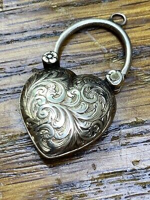 Antique Victorian Mourning 14k Solid Gold Engraved Heart Padlock Charm Pendant