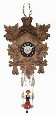 Swinging Girl Doll Quartz Movement Wooden German Deer Head Clock Sound Germany