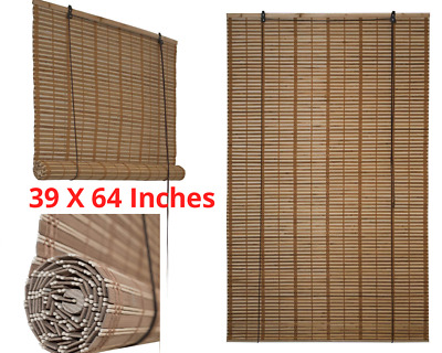 Bamboo Roman Wooden Roll Up Indoor Window Blinds Brown light Filtering Shades