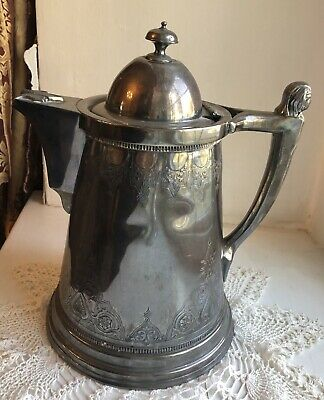 Early Meriden Silver Aesthetic Figural Handle Coffee Pot - Silverplate