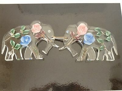 Art Deco French Lucite carved painted Elephant Buckle José Cotel Roses Animal