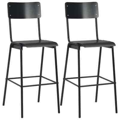 vidaXL 2x Bar Chairs Black Solid Plywood Steel Stackable Kitchen Dining Seat~