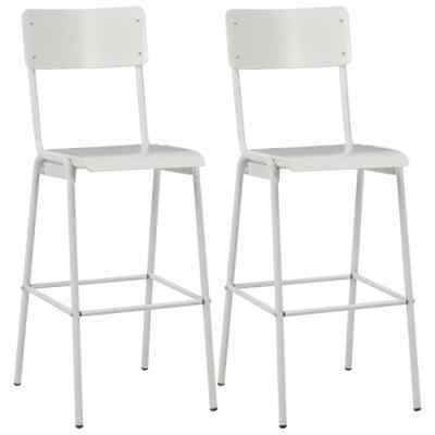 vidaXL 2x Bar Chairs White Solid Plywood Steel Stackable Kitchen Dining Seat~
