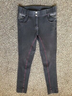 LOVESON Womens Girls Grey Pink Riding Horse Jodhpurs Trousers. Size 28 Diamontes