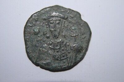 ANCIENT BYZANTINE CONSTANTINE VII BRONZE FOLLIS COIN 10th CENTURY AD