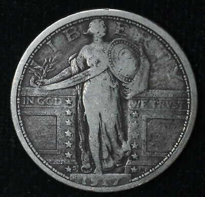 25c Cent Quarter 1917 S VF/EF Type 1 Scarce Silver Standing Liberty Key Date