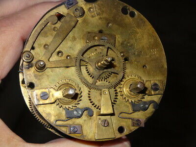 Antique Vintage French Barrel Clock Movement F. Marti for Parts or Repair
