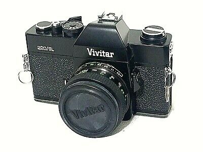 Vivitar 220/SL 35mm Film Camera with Flash and film  shoulder strap and  Bag