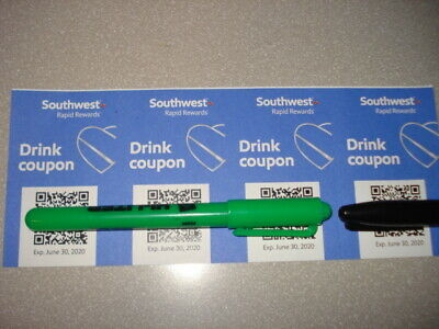 Southwest Airlines Drink Beverage Tickets Coupons 4 Four Exp 6/30/20