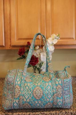 VERA BRADLEY Blue/Brown Quilted Large Travel Duffle Bag (pu210
