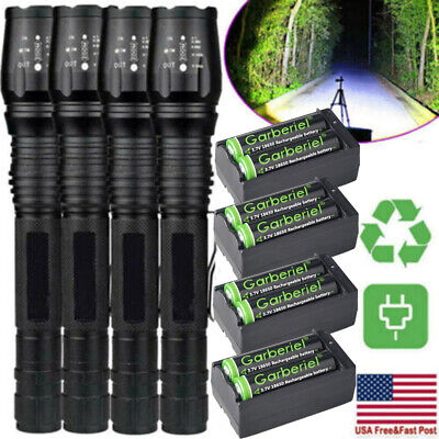 Tactical Police 990000Lumen T6 LED Zoomable Flashlight Aluminum Torch Lamp Light