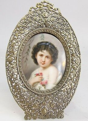Large 19th C. GERMAN Hand-Painted Porcelain Painting of Girl  c. 1880  antique +
