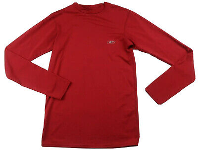 Reebok Mens Polyester Play Dry LS Crew Neck Solid Red Athletic T Shirt Medium