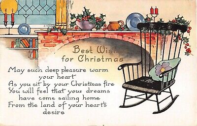 Art Deco 1930 Whitney Christmas PC of Rocking Chair by Fireplace, Candles, Books