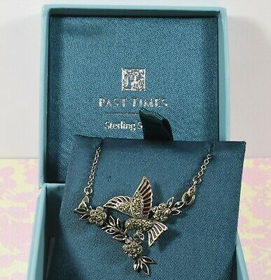 Pretty MIB Past Times Sterling Silver Marcasite Hummingbird & Flowers Necklace