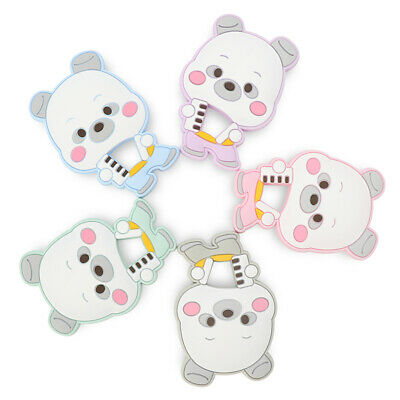 Accordion Bear Infant Teething Toy Soother Chew Baby Teether Food Grade Holder