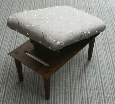 """c1960s  Wooden~Adjustable Leg Rest~Gout stool~upholstered seat~Comfie~12"""" Tall"""