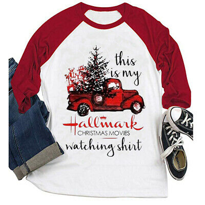 Women 3/4 Sleeve This is My Christmas Movie Watching Blouse Hallmark Shirt