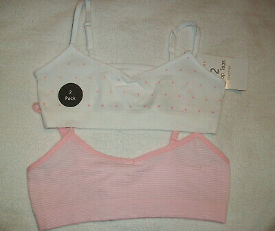 Two (2) Girls Pink  & White Seamfree Crop Top  Bra /  Vest Top Age 7-8  Years