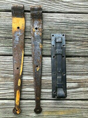 Hand forged barn door straps and lock