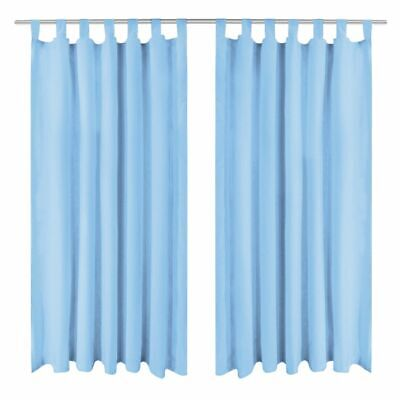 vidaXL 2x Micro-Satin Curtains with Loops 140x175 cm Turquoise Window Drapes