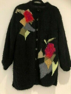 Vintage 80's Black Fluffy Fuzzy Floral Pattern Over Size Slouchy Winter Cardigan