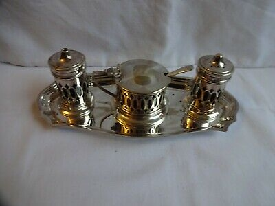 A Vintage Three Piece Cobalt Blue Glass Lined Silver Plated Condiment Set & Tray