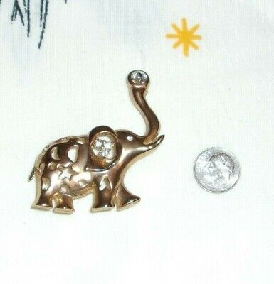 Beautiful Vintage Filigree Elephant With Rhinestones Pin / Brooch
