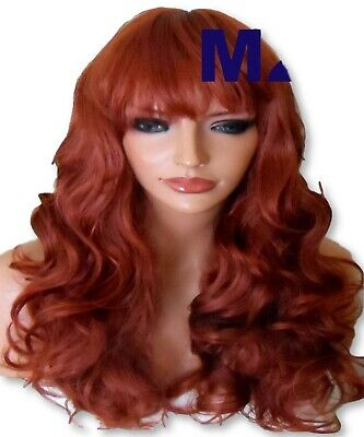 GINGER RED Natural Curly Long Party FULL WOMEN LADIES Adult Fashion WIG M26