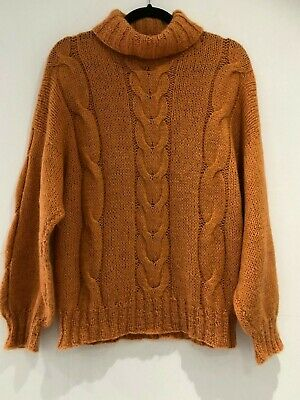 Vintage 80's Retro Coral Peach Cable Knit Turtle Neck Long Sleeve Jumper 14-16
