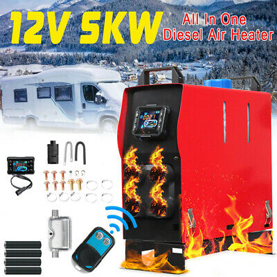 5KW 12V Diesel Air Heater Kit All In One LCD Thermostat +Remote For Trucks Boats