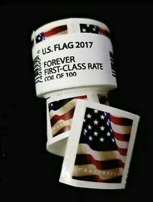 USPS Forever Stamps two coils (200), 2017. US Flag. Postage Stamps USPS