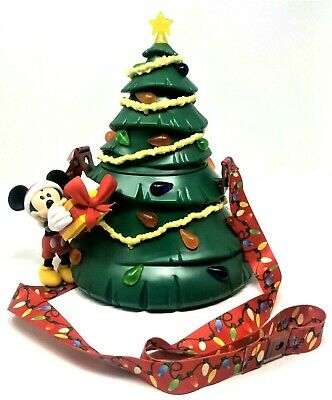 New! Disney Parks Disneyland 2019 Christmas Tree Mickey Popcorn Bucket Light Up