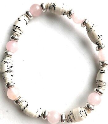 AA Big Book Bracelet Pink Silver Beads Made With Pages From Alcoholics Anonymous