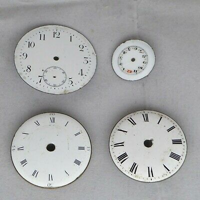 Pocket watch dials, includes 2 verge with brass frames, one has quarter hour.