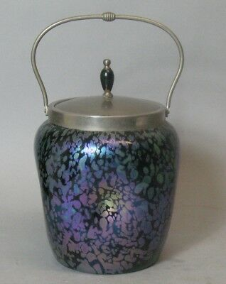 Antique Bohemian PAPILLION Art Glass Biscuit Barrel Vase  c. 1900  Loetz +