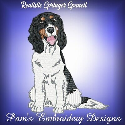 REALISTIC SPRINGER SPANIELS 10 MACHINE EMBROIDERY DESIGNS CD or USB